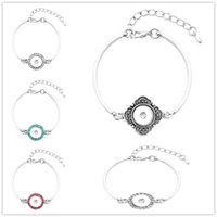 Cheap New HQ Metal Alloy Crystal Button Charm Snap Bracelet fit DIY Interchangeable 12MM Noosa Ginger Snap Button Chunks Bangle Jewelry