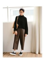 high waist pants - Women s wide leg pu high elastic waist pants female Culottes spring summer new leather casual loose ankle length trousers