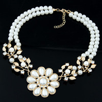 baroque for sale - Gift Summer Sale Costume Fashion Jewelry Pearls Baroque Rhinestones Flowers Pendant Accessories Collar Chokers Statement Necklaces For Women