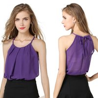 Wholesale Ladies Camisoles Colors - 4 Colors Hot Camis Tops Candy Color Camisole Chiffon Fashion Women Tank Tops Camisas Vest Casual Ladies Roupas Female Clothes DK1685LY