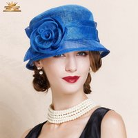 Wholesale Fashion New Sinamay Hats for Women Summer Outdoor Church Party Wedding Banquet Horse Racing