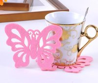 Wholesale 60pcs butterfly felt coasters pot pad cartoon cup mat drop shippi Can be customized and adding logo