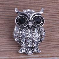 achat en gros de bouton en forme de bricolage-Vente en gros 18mm OWL Forme Noosa Bijoux interchangeables Bricolage Bracelets Metal Ginger Snap boutons avec des cristaux