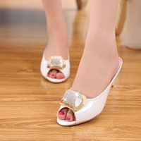 Wholesale Chunky Sandals Girls - 4 Colors Size 34-43 Dropshipping Hot Sale European Lady Sandals Elegant Rhinestone Open Toe Slippers Big Size Slippers Girl Shoes B233-1