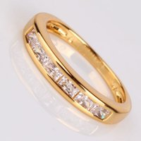 Wholesale Three Stone Rings Attractive woman Jewelry white sapphire K gold filled band ring Sz5 Sz9