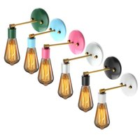 antique bathroom lighting - E27 Industrial Sconce Antique Vintage Wall Lamp Bare Bulb Colorful Loft Iron Wall Light Holder For Living Room Bathroom Stair