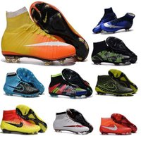 Wholesale Cheap boys High Ankle Magista Superfly FG Soccer Shoes CR7 kids Football Shoes Mercurial Soccer Cleats Womens hypervenom Football Boots