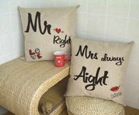 Wholesale Mr Right and Mrs Always Right Linen Cushion Car Home Accesorries x45cm