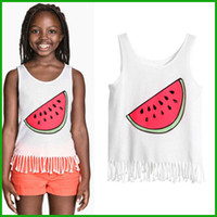 africa animal print - tyfactory killing price sounth africa style new Summer Girls Watermelon Print Tassel Vest Blouse Kids Baby Tops girls suits outfit