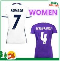 Wholesale women Real madrid Soccer Jersey Benzema Ronaldo football Modric Kroos Sergio Ramos Bale Marcelo james home shirts