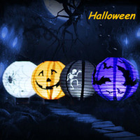 lamp supplies - 1 Halloween Decoration LED Paper Pumpkin Light Hanging Lantern Lamp Halloween Props Outdoor Party Supplies