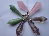 aventurine gem - A Natural Rose Quartz Aventurine Jade Ametrine Crystal Pendant Gem Stone water drop pendant DIY Jewelry making