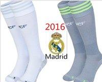 Wholesale 15 season Real Madrid soccer socks Real Madrid home and away gray socks towel bottom stockings