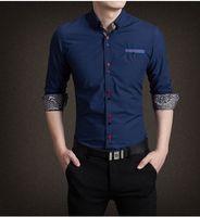 Wholesale 2016 new men s long sleeved shirt Slim young men s casual shirt big yards M XL