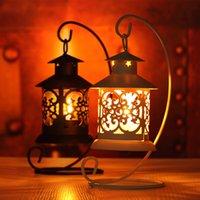 Wholesale Fashion Couple birthday gift ideas classic European pavilion Morocco hollow Iron Candlestick