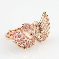 Wholesale Newest fashion swan shape Platinum plated and prong setting Austria AAA Cubic Zirconia crystal Rings for women luxury Party Engagement ring