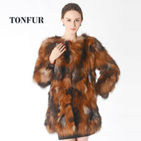 Wholesale Crystal Natural Fox Fur Warm Thick Long Coat Real Fox Fur Coat Lady Factory Hot Low Discount Genuine Fur Long Jacket NT671