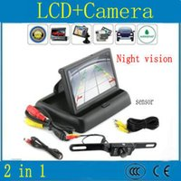 Wholesale 4 inch TFT LCD flexible displays Car Rear View DVD VCR Monitor IR LED Lights Night Vision Rearview Reversing Camera