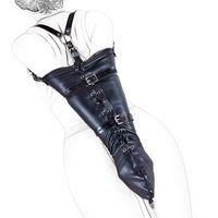 adult white gloves - Sexy black white PU Leather Over Shoulder Arm Binder Bondage Slave Fetish One Arm binder Glove BDSM Adult Bondage Kit Restraints Sex Toy