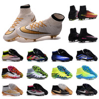 Wholesale 2016 New OrigINal mens MerCURial SuPERflys HERITAGE FG soccer shoes High Ankle football Boots MaGISta VI SuPERfly CR7 cleats HyperVENom II