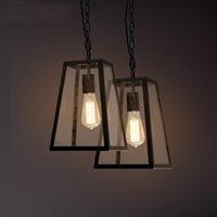 art deco box - LOFT Vintage Iron Art Glass Box Pendant Lamp Creative Living Room Coffee House Dinning Room Bar Lighting Fixture