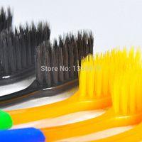 Wholesale authentic set sterilization nano bamboo charcoal fiber double soft bristle toothbrush hygiene AK01H