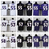 Wholesale HOT SALE Men s Ravens Elite Football Jerseys SUGGS MOSLEY DUNERVIL High Quality Stitched Three Colors Allowed