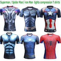 Wholesale 2016 NEW Summer Superman tights compression t shirt sports fitness training running fast drying Gym Clothing t shirt