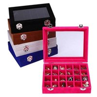 Wholesale cheap Velvet Glass Jewelry Ring Display Organizer Box Tray Holder Earring Storage Case