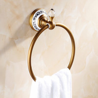 antique hook rack - And Retail Antique Brass Crystal Ceramic Style Towel Ring Wall Mounted Bath Towel Rack Round Tower Hanger Hook