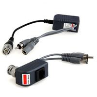 Wholesale 2 BNC RJ45 Coax CCTV video Audio Power Balun Transceiver CAT5 twisted pair cable