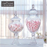 Wholesale 1pcs European and American style texture transparent glass candy jar wedding dessert table home soft furnishings Decoration Can