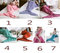 batik bag - Kids size Mermaid Tail blanket Wool Knitted Fish Tail blanket throw bed Wrap super soft sleeping bag x140cm