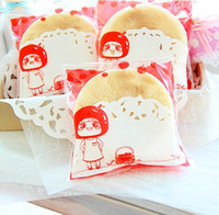 apple recycling - New red apple little girl Self Adhesive Seal Snack bags Lovely Biscuits Bread Cookie Gift Bag x10 cm