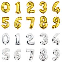 Wholesale inch Gold Silver Number Foil Balloons Digit Helium Ballons Birthday Party Wedding Decor Air Baloons Party Supplies