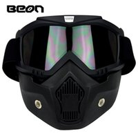 Wholesale New Beon motorcycle face mask dust mask with detachable Goggles And Mouth Filter for modular Open Face moto Vintage Helmets