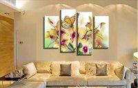 4 панелей Желтый Фаленопсис Фиолетовый цветок Большой HD Картина маслом холстины Картина Современная DecorationWall Гостиная