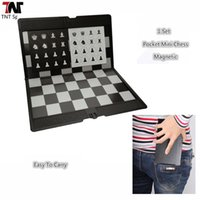Wholesale Pocket Mini Chess Set Board Magnetic Portable Checkers Set Traveler Plane Easy To Carry Family Game L347