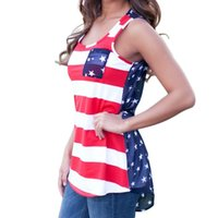 Women Print None NEW Sexy Summer Style Sleeveless Tops American USA Flag Print Stripes Tank Top for Women Blouse Vest Shirt #10