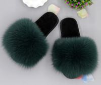 Wholesale Fashion Women Indoor Outdoor Real Fox Fur Plushed Trimed Wool Winter Slippers Flat Heel High Heel Indoor Outdoor Party