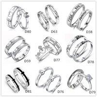 Wholesale Mixed Style Silver Plated Adjustable Ring Jewelry Engagement letters Love Zircon Wedding Lovers Couple Rings for Women MenD59