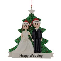 resin christmas ornaments - Resin Couple Christmas Engagement Ornaments Wedding Personalized Lover Gifts Souvenirs With Glitter Pine Tree For Valentine s Day Gifts