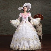belle hat - 2016 Brand New White Appliques Lace Medieval Marie Antoinette Dresses Women Southern Belle Party Ball Gowns Includes Hat Dress