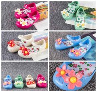 Wholesale 2016 New Melissa Summer Breathable Baby Sandals Kids Shoes For Girl With Two Flowers Soft Comfortable Princess Sneakers Eur