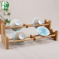 Wholesale Bamboo storage holders tea cup Bathroom Shelves kitchen dish plate shelf accessories storage holders handmade folding rack