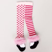 baby tights shoes - Chirstmas Leggings Korean Fashion Princess Shoes Lace Edge StripedHeart Baby Girls Tights Autumn Spring Kid Long Socks Pantyhose A5789
