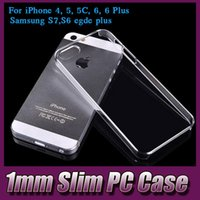 Plastic iphone 5c - 1mm Super Thin Crystal Clear Transparent Hard PC Plastic Case Shell For iPhone S SE S C S Plus Galaxy S7 S6 Edge Plus MOQ
