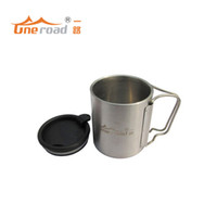 Wholesale Portable Camping Cup Outdoor Folding Handle vacuum Cups Durable double Stainless Steel coffee beer Mug With Self Lock Carabiner