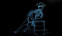 barrel racing - LS858 b Barrel Racing Horse Neon Light Sign jpg