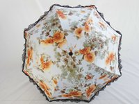 beach umbrella art - 21 inch Ink and wash Painting lace Orange Purple Green Blue and Pink Umbrella Rain Women Creative Art Beach Anti UV Decorative Umbrella